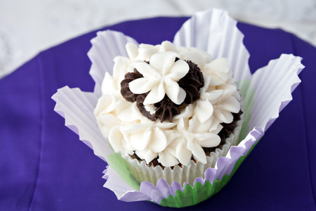 confections: Close up of a decadent gourmet cupcake with chocolate and vanilla frosting.  Stock Photo