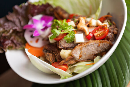 Thai Salad with Crispy Duck and fresh green mango tomatoes and cashew nuts on a bed of lettuce. photo