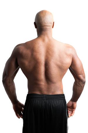 hombre calvo: Virada y arrancó constructor del cuerpo con una musculosa espalda.