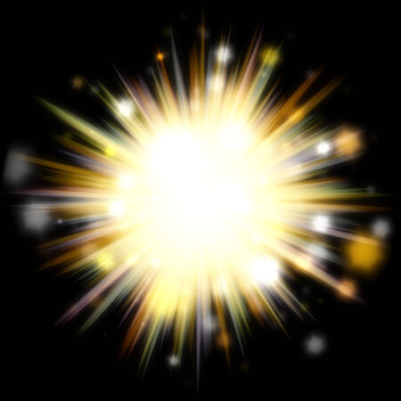 booming: A bright exploding burst over a black background. Stock Photo