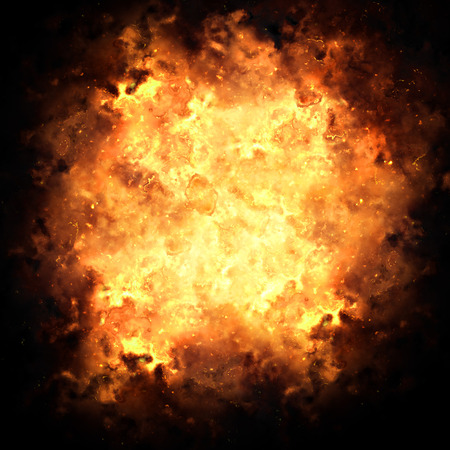 hellfire: Realistic fiery explosion busting over a black background.