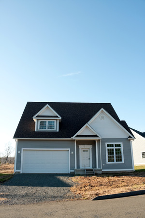 residential neighborhood: Modern custom built house newly constructed in a residential neighborhood.