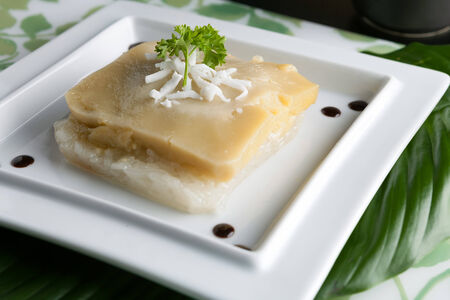 Thai custard with sticky rice garnished on a plate with shredded coconut. photo