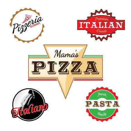 deli: Custom labels in vector format for a pizza restaurant or Italian deli.