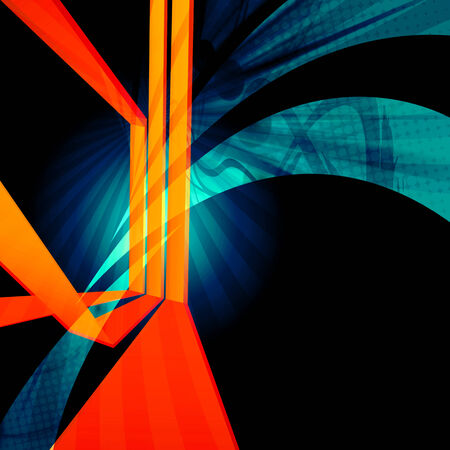 three orange: Funky abstract design with dimensional converging lines.