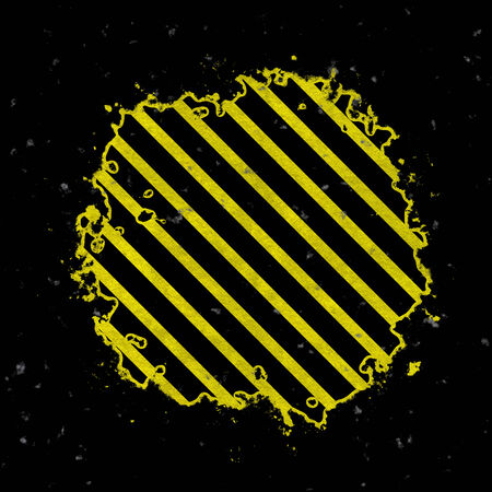 hazard stripes: A hazard stripes background with grungy splatter textures isolated over a black background.