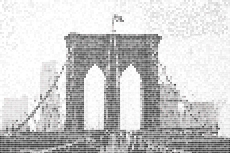 pixelated: Pixelated abstract background of the Brooklyn Bridge in NYC Stock Photo