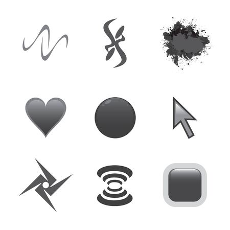A collection of four creative symbols for use as icons or art elements. Vector