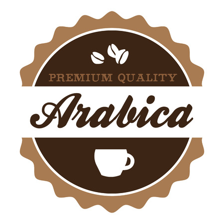 arabica: Round vintage Arabica coffee Label with coffee cup and coffee beans silhouette.
