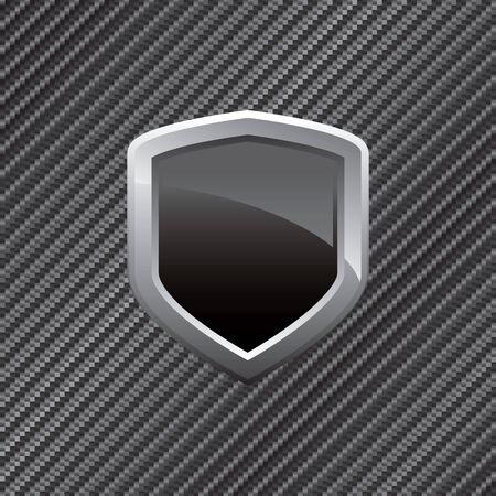 Black shield layout over a carbon fiber background in vector format.