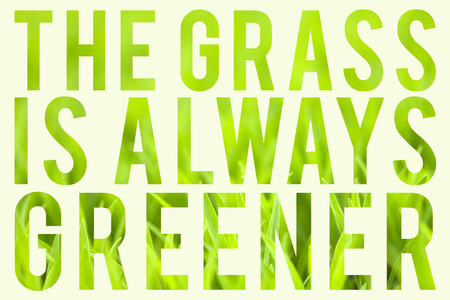 to the other side: Green grass with typography quote about the grass always being greener on the other side.