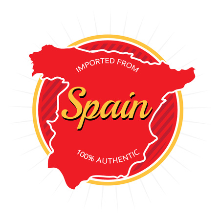 made in spain: Imported from Spain label design over white. Illustration