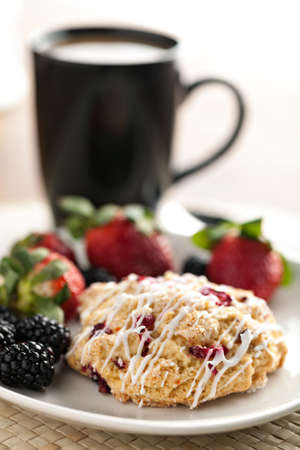 scone: Orange Cranberry Scone with fresh fruit.  Shallow depth of field. Stock Photo