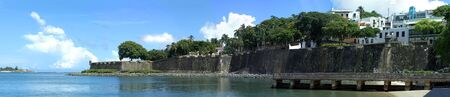 juan: The city boundary and old decaying wall of El Morro fort located in Old San Juan Puerto Rico. Editorial