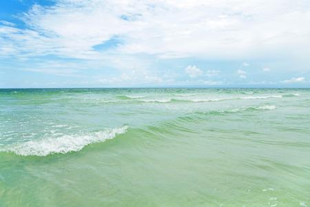 Siesta Key Beach is located on the gulf coast of Sarasota Florida with powdery sand. Stock Photo