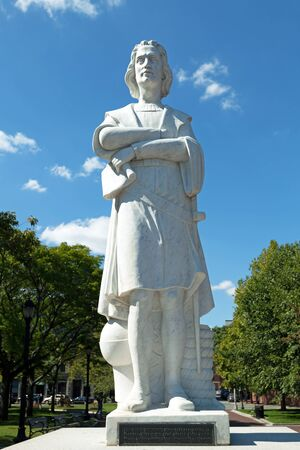 christopher columbus: Boston Christopher Colombus public statue found in the park. Editorial