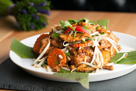 referred: Thai style radish cakes dish with chicken.  Also referred to as turnip cakes. Shallow depth of field.