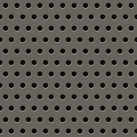 grille: Metal grill texture in grey with circular holes. Stock Photo