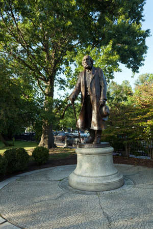 hale: Public statue of Edward Everett Hale found in Bostons Public Garden in Massachusetts. Stock Photo