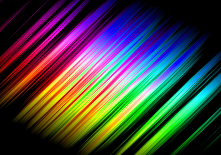 Abstract motion rainbow graphical background over black.