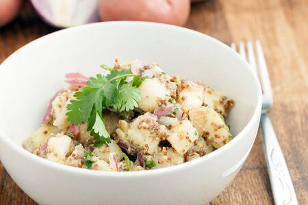 Aardappelsalade vers zelfgemaakte zonder mayonaise. Ingrediënten zijn koriander olijfolie azijn volkoren Dijon mosterd rode uien en aardappelen. Stockfoto