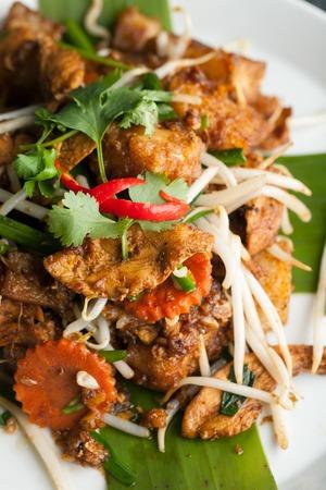 Thaise stijl radijs gebak schotel met kip. Ook wel aangeduid als raap gebak. Ondiepe scherptediepte. Stockfoto