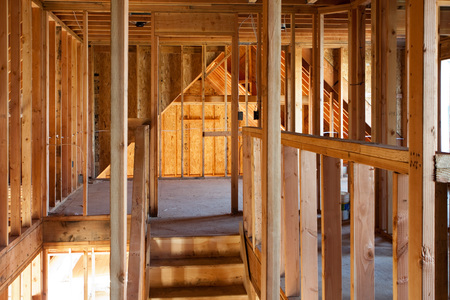 uprights: Framed building or residential home with basic electrical wiring and hvac complete. Stock Photo