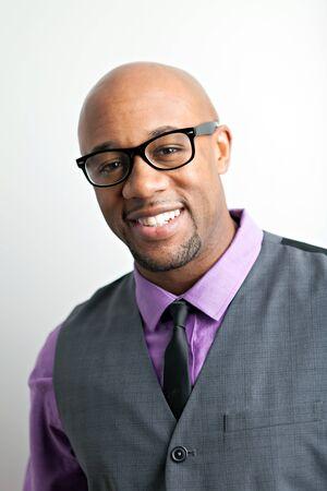 Stylish modern business man wearing black framed glasses. photo
