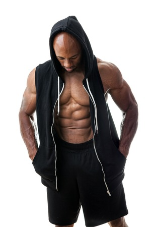 lean over: Toned and ripped lean muscle fitness man wearing a hooded sweatshirt isolated over a white background.