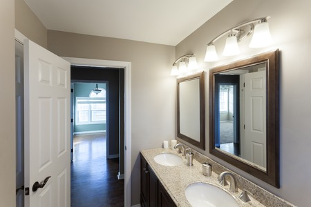 Beautiful staged interior bathroom room in a modern house.