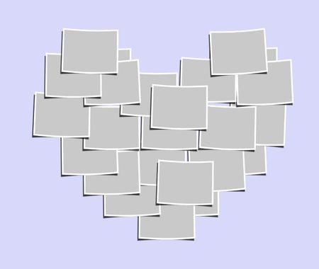 Blank photos forming a heart-shape on light-purple background photo