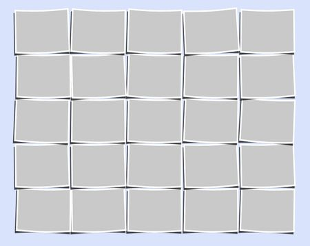 Blank photos with a white border on light-blue background photo