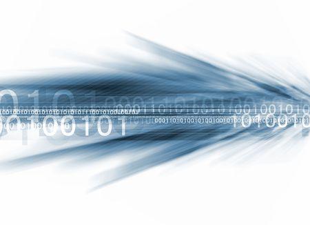 binaire stroom in blauw op witte achtergrond