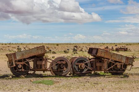 Old Rusting Broken Railway Machinery in Wilderness, Uyuni, Bolivia