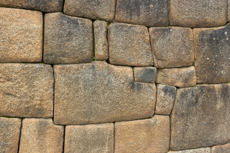 Close-up Detail of Inca Ashlar Wall Precise Stone Block Jointing, Machu Picchu, Peru Фото со стока - 101152612
