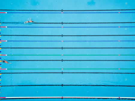 captured: Captured top view of swimming pool and 2 swimmer Stock Photo