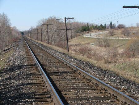 A road running alongside a railway.