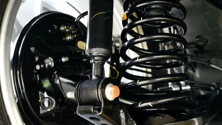 motor vehicle: Car Shock Absorber and Spring Stock Photo