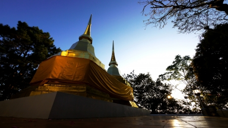 Twin Pagoda at Wat Phra That Doi Tung, Chiang Rai, Thailand  photo