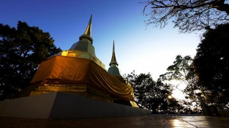 Twin Pagoda at Wat Phra That Doi Tung, Chiang Rai, Thailand