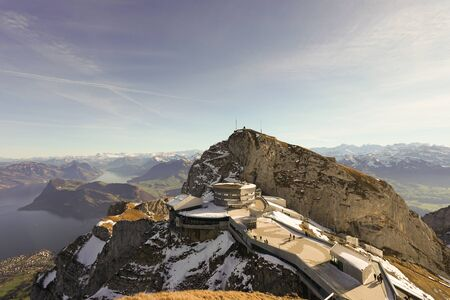 Titlis (also Mount Titlis) is a mountain of the Uri Alps, located on the border between the cantons of Obwalden and Berne. Stock Photo