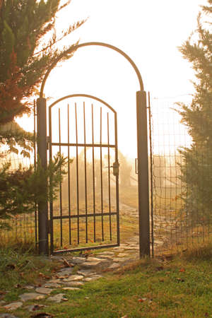 path to romance: Gate to the secret garden Stock Photo