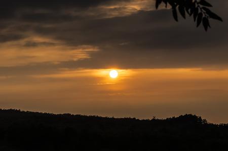 blazing: Blazing sunset over mountain