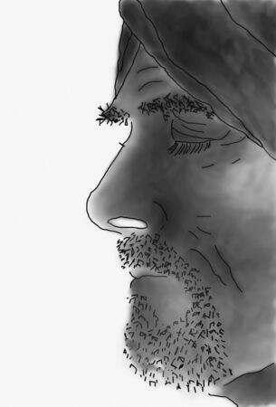 Sketched profile of bearded man with turban