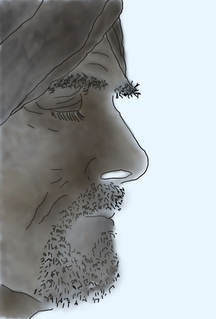 Sepia sketched profile of bearded man with turban