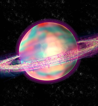 moons: Colourful Saturn in space