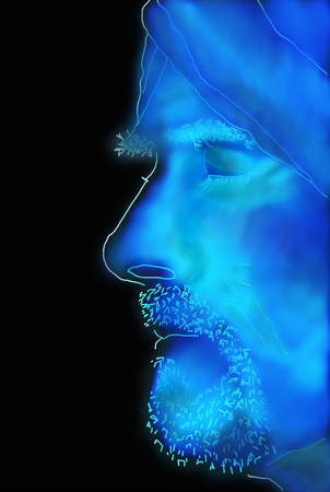 Glowing blue sketched profile of bearded man with turban Stock Photo