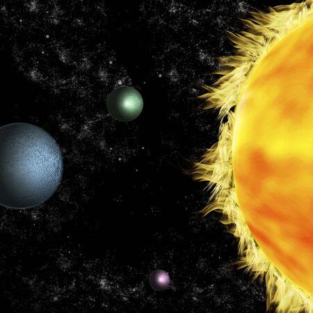 Solar systems: three planets revolving around sun Stock Photo