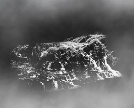 Black and white minimalist sketch of waterfall Stock Photo