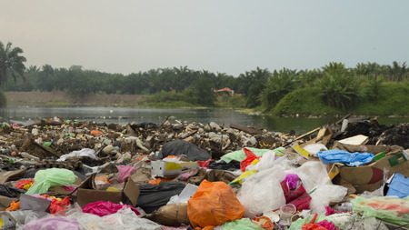 Huge amount of polluting trash in countryside Stock Photo